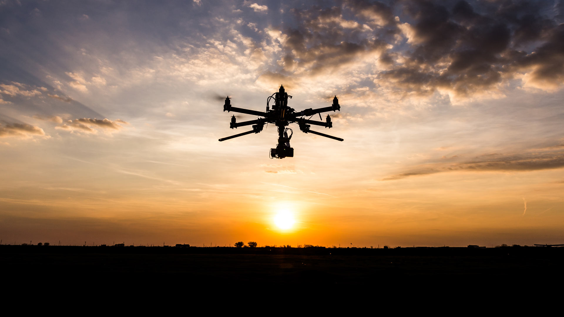 Drone flying in the evening